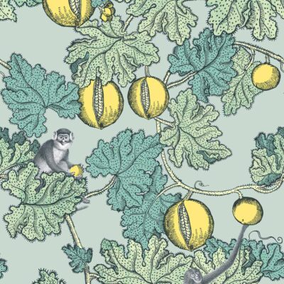 Fornasetti frutto proibito, monkey and fruits wallpaper by Cole & Son