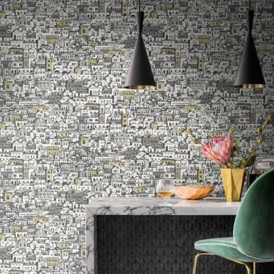 Fornasetti mediterranean village wallpaper by Cole & Son