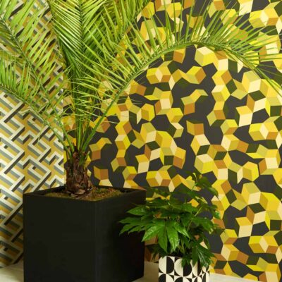 Geometric II Puzzle, tumbling cubes wallpaper by Cole & Son
