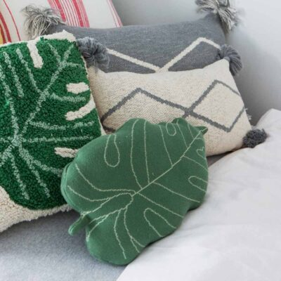 Knitted cushion green baby leaf by Lorena Canals
