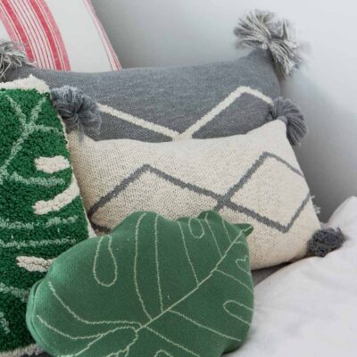 Knitted cushion natural and grey by Lorena Canals