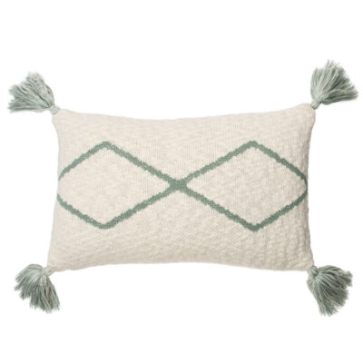 Knitted cushion little oasis nat indus blue by Lorena Canals