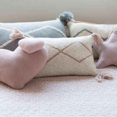 Knitted cushion natural and pale pink by Lorena Canals