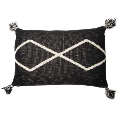 black knitted rectangular cushion by Lorena Canals