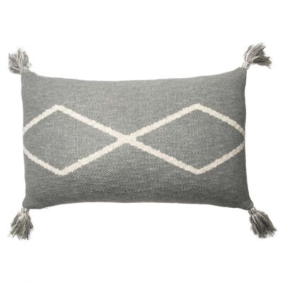 Knitted rectangular cushion with pompom grey by Lorena Canals