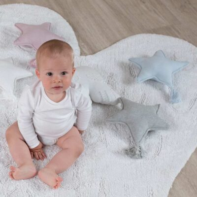 Knitted cushion twinkle star grey by Lorena Canals