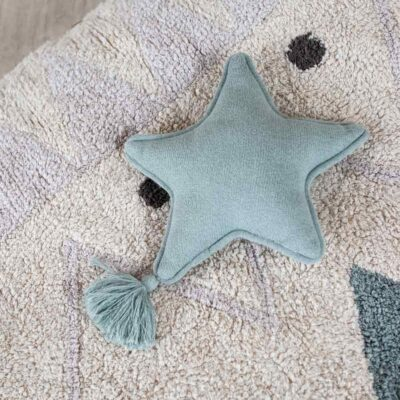Knitted cushion twinkle star blue by Lorena Canals