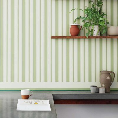 Marquee Stripes Cambridge, white and green stripe wallpaper by Cole & Son