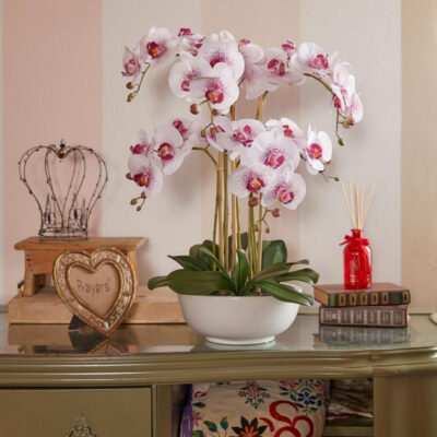 artificial fuchsia orchid with white vase by EDG