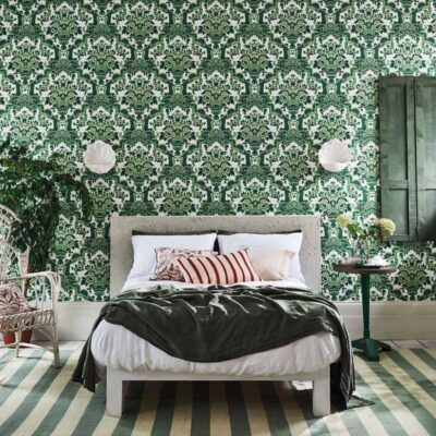 Seville Lola, green damask with flamenco dancer wallpaper Cole & Son