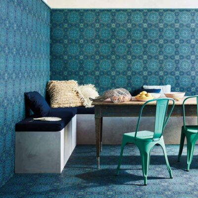 Seville Piccadilly, curved swirling lines tiles wallpaper by Cole & Son