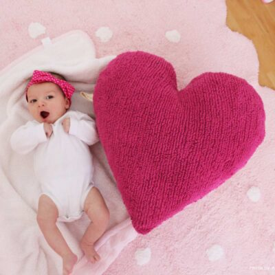 Washable cushion heart fuchsia by Lorena Canals