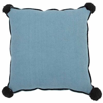 Washable cushion square blue with black pom pom by Lorena Canals