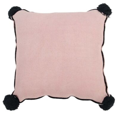 Washable cushion square pink with black pompom by Lorena Canals
