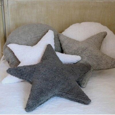 Washable cushion star dark grey by Lorena Canals