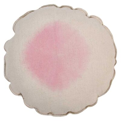 Washable round cushion tie dye pink by Lorena Canals