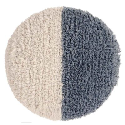 Woolable floor cushion white and blue by Lorena Canals