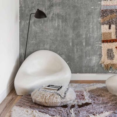 Woolable pouffe bereber white by Lorena Canals