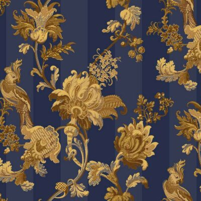 blue & gold Zerzura wallpaper by Cole & Son