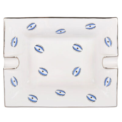 white ashtray trinket tray with blue evil eye by Casacarta