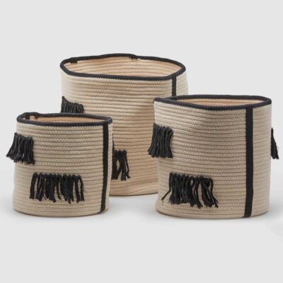 black and white basket with fringe by EDG