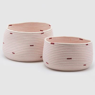 pink basket set of 2 by EDG