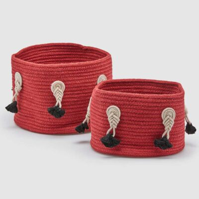 set fo 2 red basket in cotton by EDG
