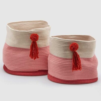 white pink basket in cotton with pompom by EDG