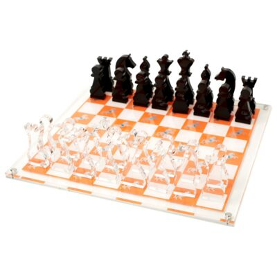 clear & orange chess board horse by Casacarta