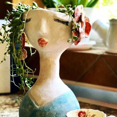 clay face planter by Azra