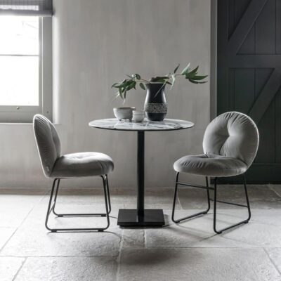 Black metal frame slate grey chair Bouton by Must Living