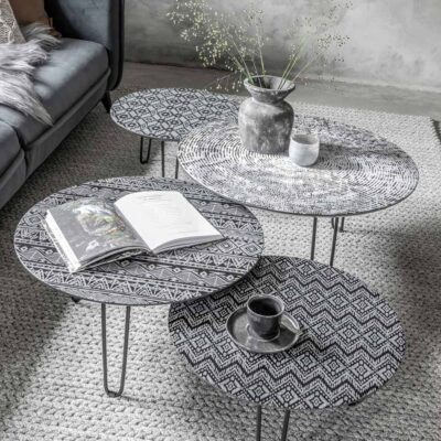 Black metal frame coffee table Lombok by Must Living
