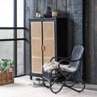 woven cane cupboard black & natural Provence by Must Living