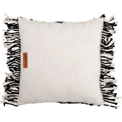 black and white cushion with fringe Zorro by Must Living