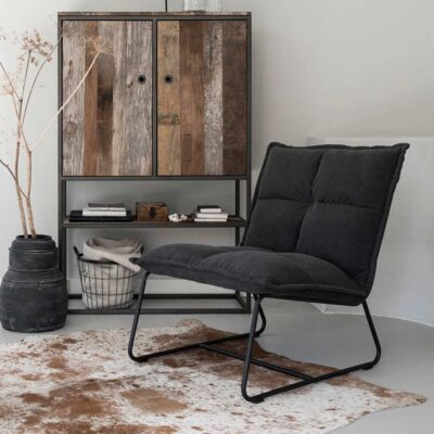 Black metal frame black lounge chair Cloud by must Living