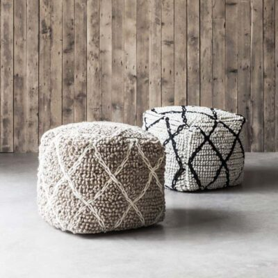 wool pouf black and white Princess by must Living