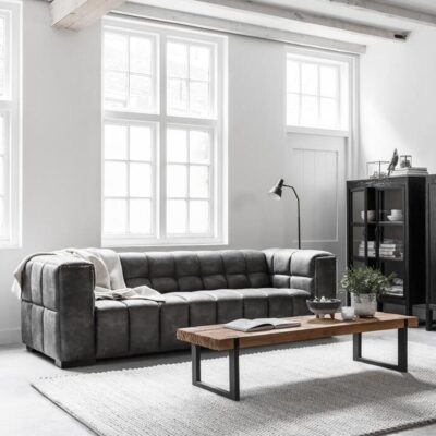 Charcoal leather sofa Waves by Must Living