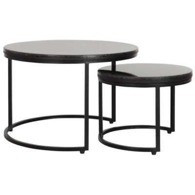 Black metal frame round table set Palm Springs by Must Living