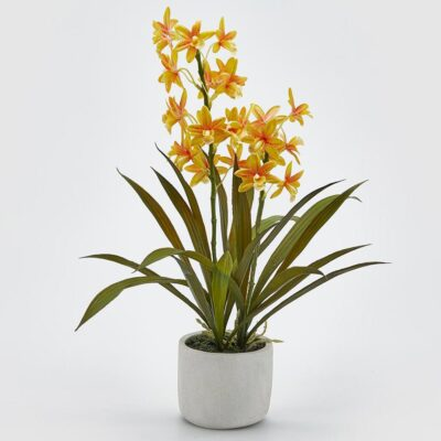 artificial yellow orchid with vase by EDG