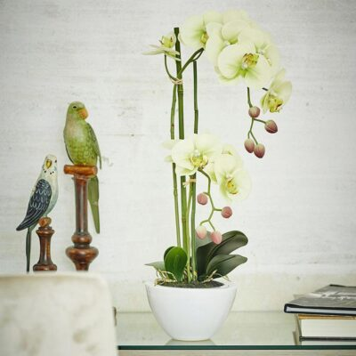 artificial yellow orchid vase by EDG