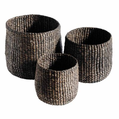 3 Tall black baskets made from black woven water hyacinth by Muubs