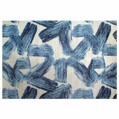blue painting effect Brush rug by Toulemonde