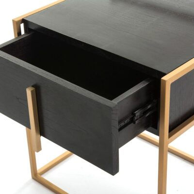 Busan bedside table wood black and metal golden by Latzio