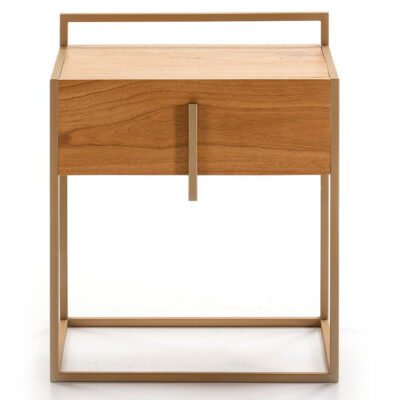 Busan bedside table wood natural and metal golden by Latzio