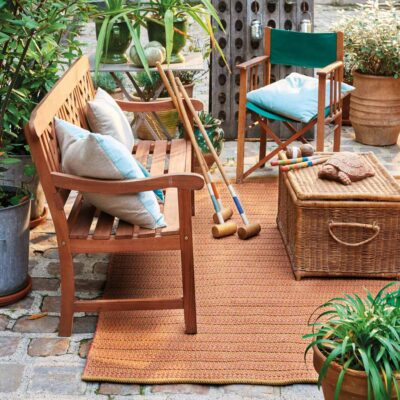 outdoor copper Cordou rug by Toulemonde