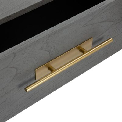 Dhaka bedside table wood grey and metal golden by Latzio