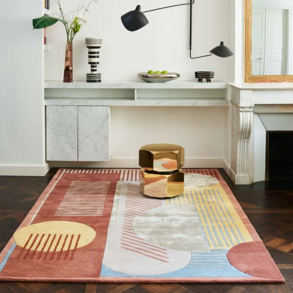 terracotta graphic Ettore rug by Toulemonde