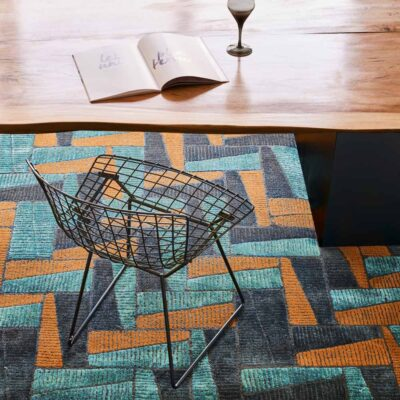 blue and orange geometric lines Fields rug by Toulemonde