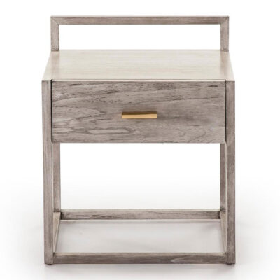 Jeddah bedside table wood grey velled by Latzio