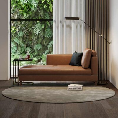 handmade brown leather Karin Chaise Long by Laskasas